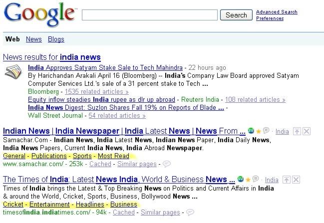 Google Sitelinks - New